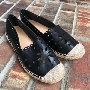 Wanted Black Espadrilles Flat with Floral Cutout